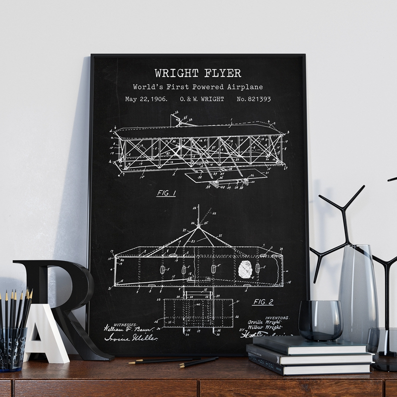 Flying Machine Prints Wright Brother Aircraft Patent Vintage Poster Airplane Blueprint Art Canvas Painting Nursery Wall Decor image