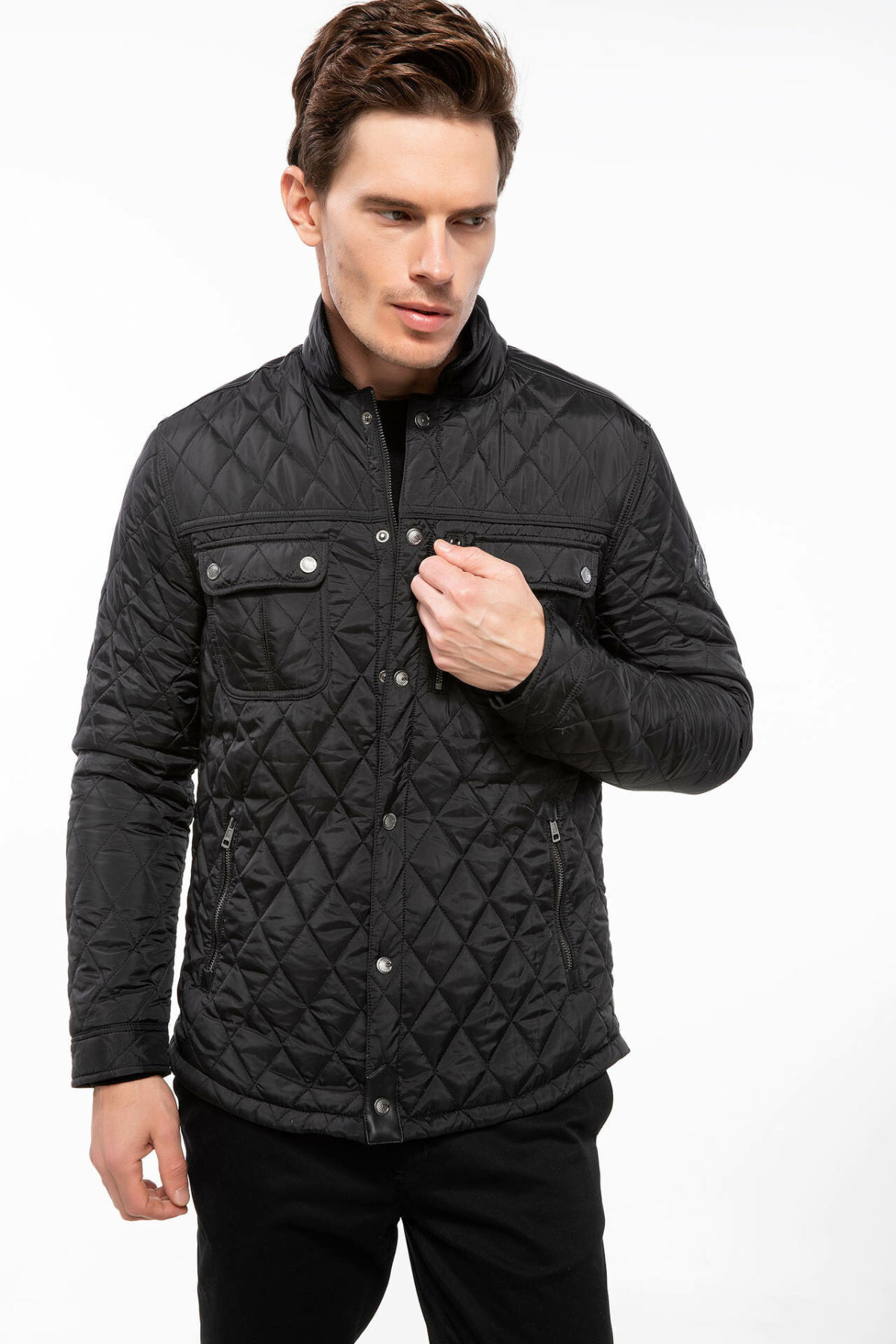 DeFacto Fashion New Men's Lapel Short Warm Parker Coats Male Solid Warm Jackets Men Thicken Overcoats Winter- I7987AZ18AU