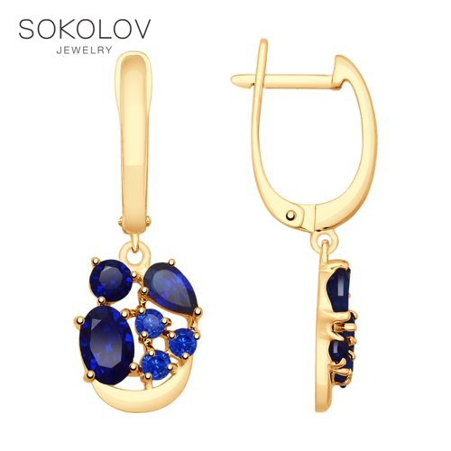 SOKOLOV Drop Earrings With Stones With Stones With Stones With Stones With Stones In Gold With Blue Corundum (synth.) Fashion Jewelry 585 Women's Male