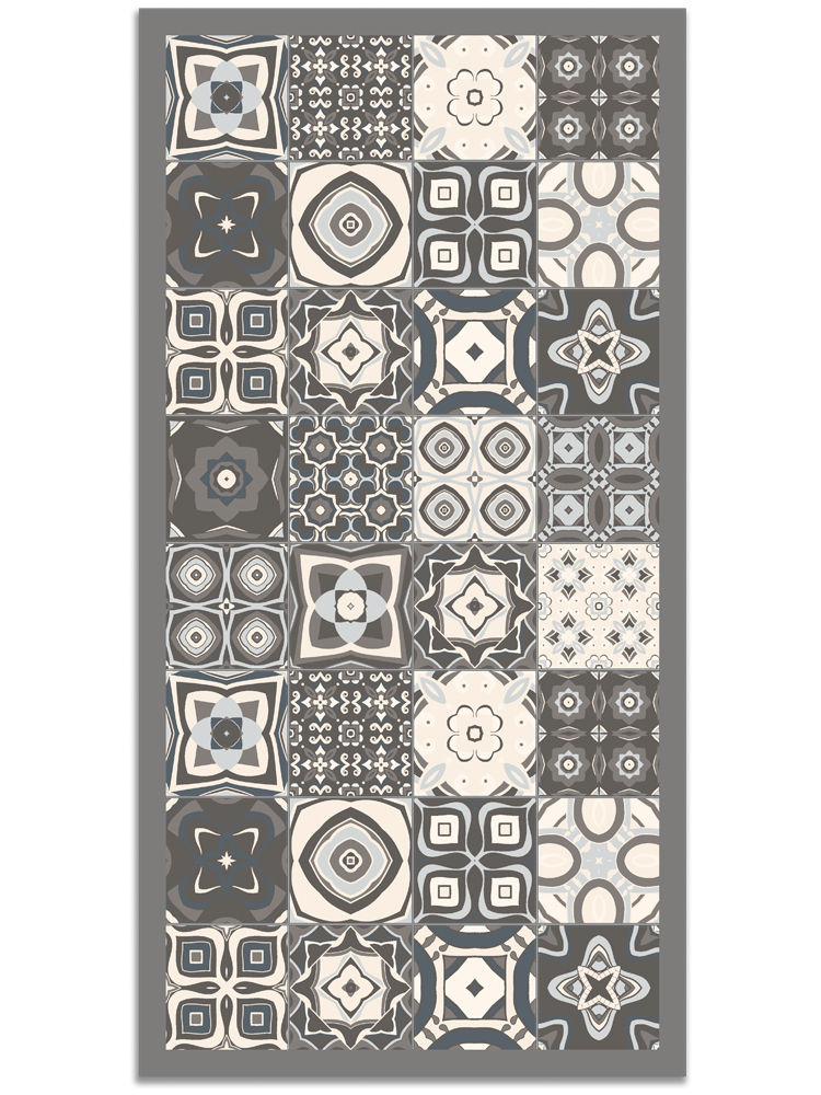Panorama® Vinyl Rug Printed With Vintage Tiles Design In Blue Colour 47 X 69 Inches   Kitchen Carpet   Living Room Rug   XXL Rugs   PVC Rugs
