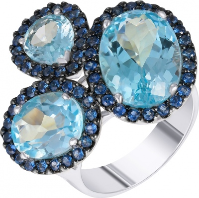 Jay VI Ring With Topaz, White Gold Sapphires 750