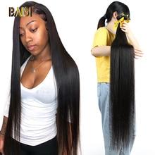BAISI שיער פרואני 38 40 42 Inch שיער לא מעובד לארוג שיער ישר שיער חבילות ארוך חבילות שיער 100% שיער טבעי חבילות