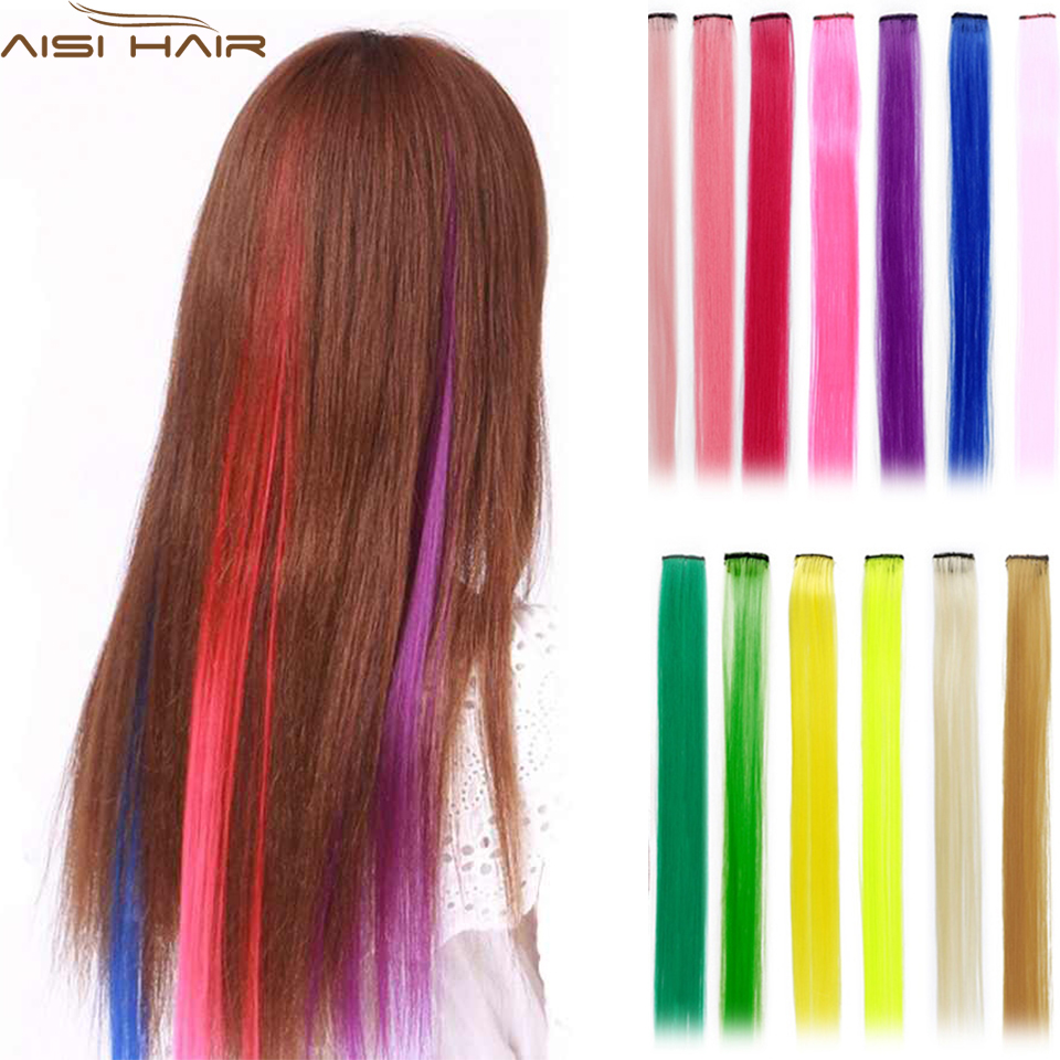 Hair Extensions Party Colorful Clip In Synthetic Long 20 Inches Colors Cosplay Heat Resistant Fiber Highlights Multiple  Tones