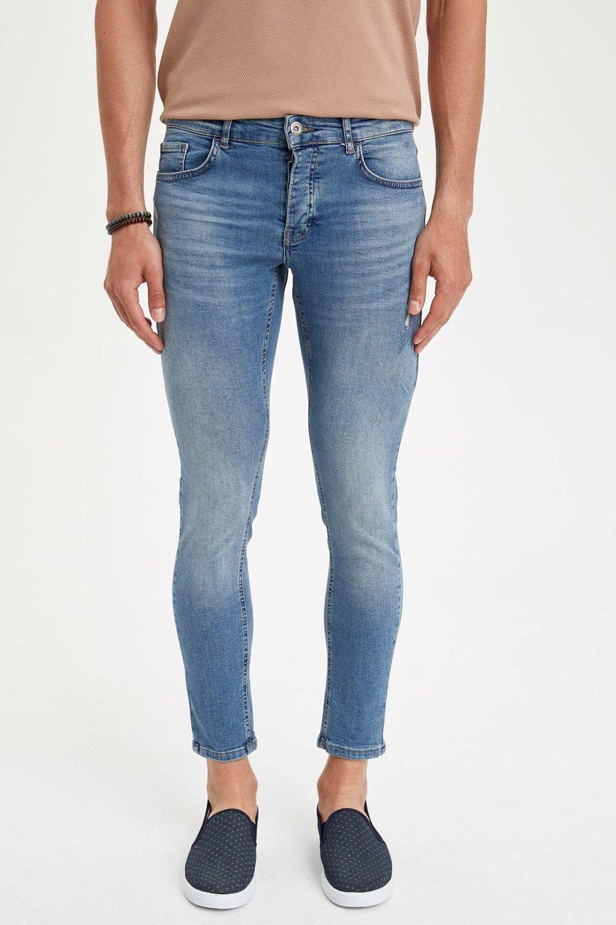 DeFacto Fashion Mens Wash Blue Stretch Jeans Men Elastic Cotton Denim Pants Skinny Trousers New Menswear New -L9472AZ19SM