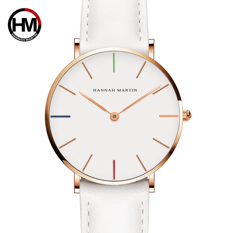 Hannah Martin Luxury Brand Quartz Women White Watches Life Waterproof Wristwatch Clock Gift For Women Female Watch Reloj Mujer