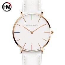 Relógio feminino hannah martin, relógio de quartzo de marca de luxo impermeável, relógio de pulso impermeável para mulheres
