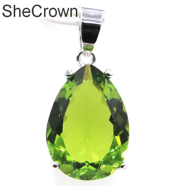 27x13mm Big Water Drop Gmestone 18x13mm Created Green Peridot Gift For Sister Silver Pendant