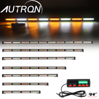 25 to 62 COB LED Traffic Adviser Emergency Warning Strobe Light Bar Amber White For Tow Plow Truck Wrecker 12/24V