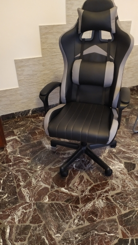 Chaise gaming ergonomique avec appui-tête et soutien lombaire ajustables