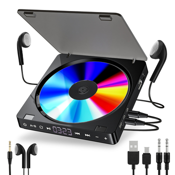 Reproductor de CD portátil, auriculares dobles, Reproductor de CD, Walkman Discman, pantalla LCD recargable a prueba de golpes
