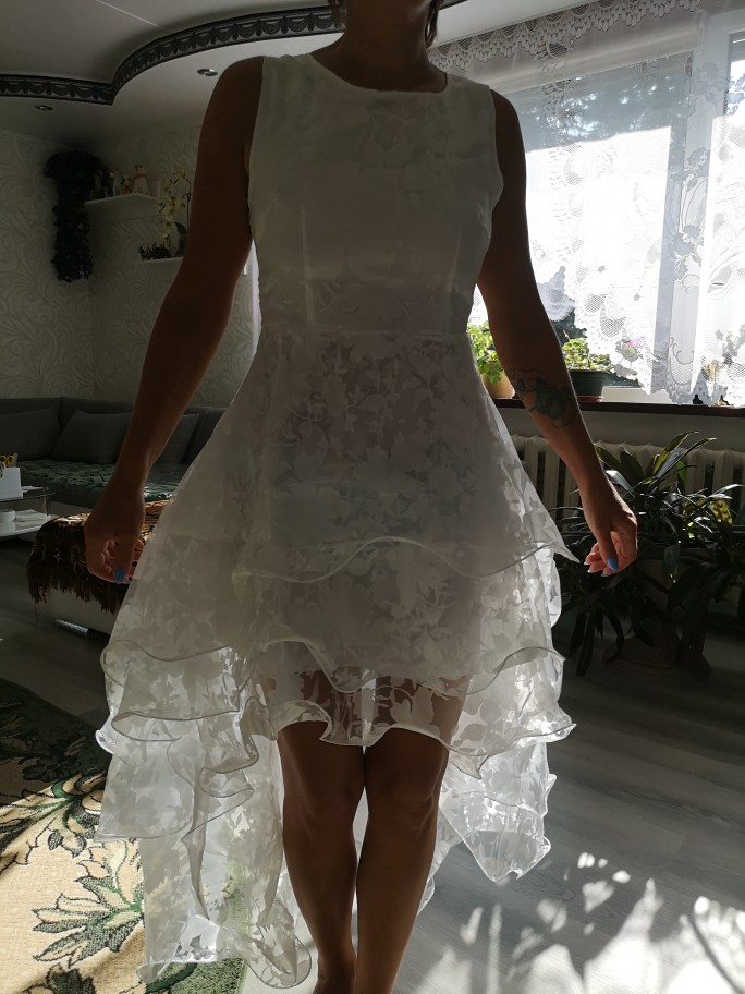 Fashion Spring Summer High Low Dresses Sleeveless Elegant Slim Front Short Back Long Puffy Party Dress White Women Tulle Dress photo review