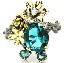 купить 25x18mm Sublime Antique Vintage Rich Blue Aquamarine Gift For Girls Black Gold Silver Rings дешево