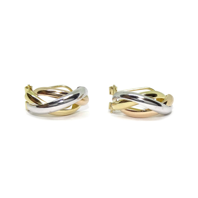 Bonitos y vistosos pendientes medios aros tricolor de oro amarillo, blanco y rosa de 18k con cierre omega 3