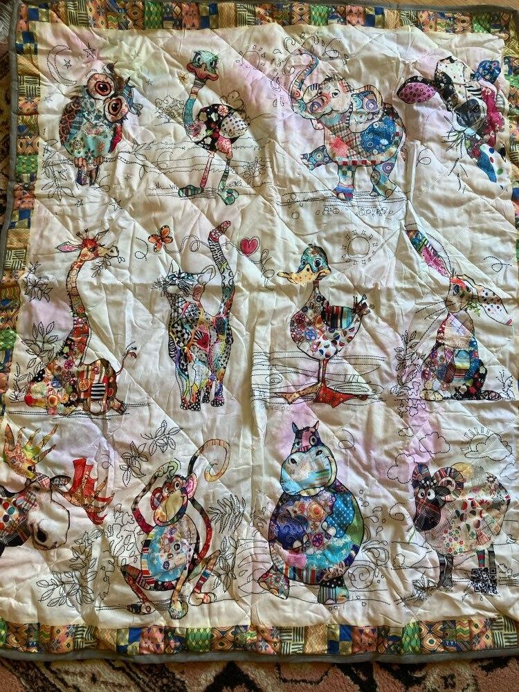 Colcha de algodón para sofá con estampado de animales de granja, animales y animales para el hogar, colcha de tamaño Queen King