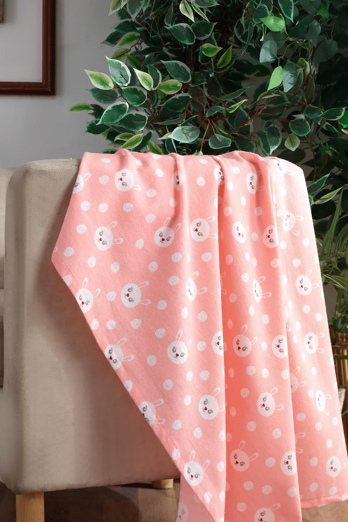 100 Cotton Baby Blanket Pink Rabbit