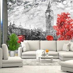 3D Фотообои рисунок Лондон Биг Бен, обои на стену, для зала, кухни, спальни, детской, фотообои расширяющие пространство