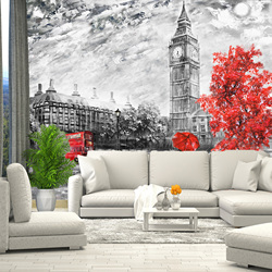 3D wall mural drawing London Big Ben, wallpaper, for Hall, kitchen, bedroom, nursery, wall mural expanding space