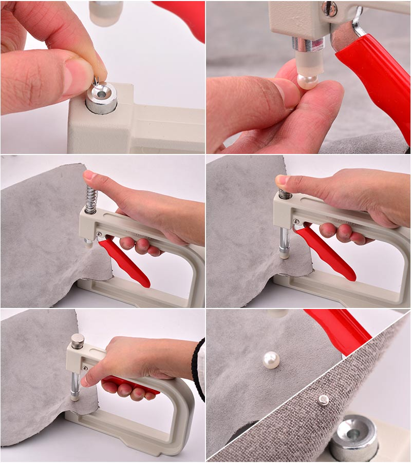 JUNAO 4 5 6 8 10 12mm White Pearl Setting Machine Hand Press Tools Rivet Beads Fixing Machine for Sewing Crafts Supplie in DIY Craft Supplies from Home Garden