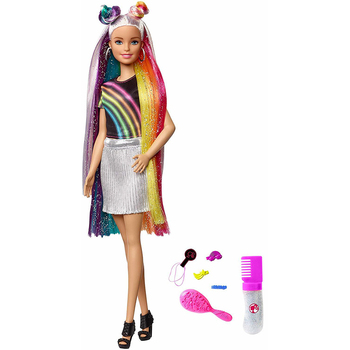 Barbie doll with rainbow shimmering hair