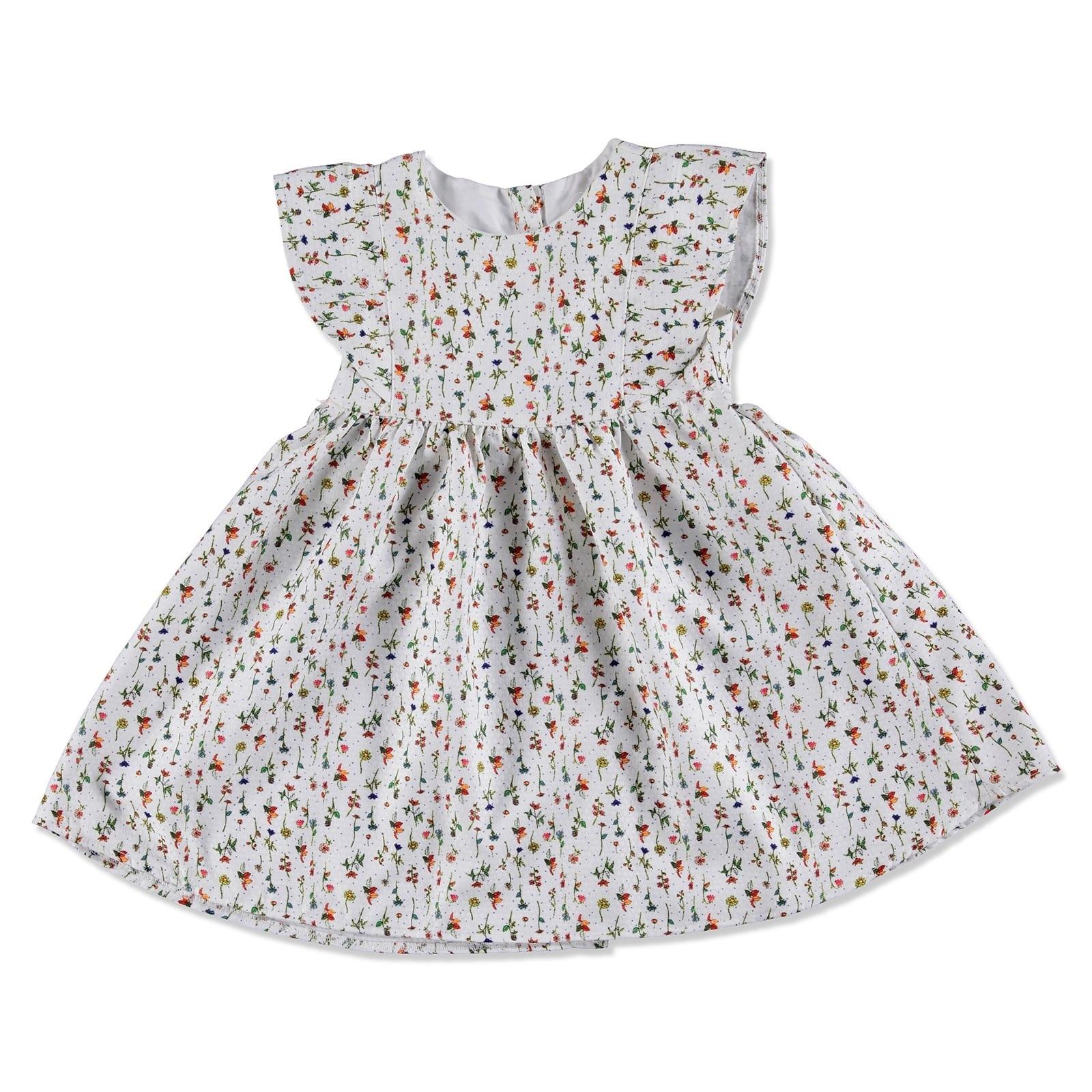 Ebebek Bombili Summer Baby Girl Gabardine Crew-Neck Dress