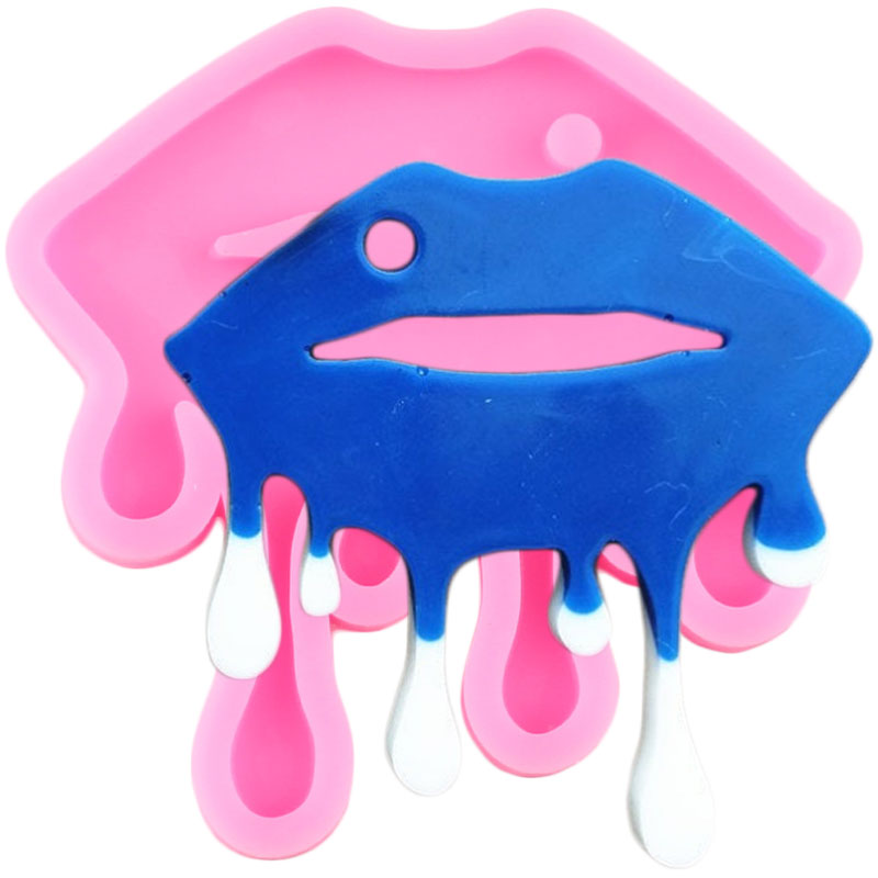 Shiny Drippy Lips Silicone Molds DIY Keychain Epoxy Resin Mould Mouth Key Chain Craft Custom Pendant Necklace Moulds