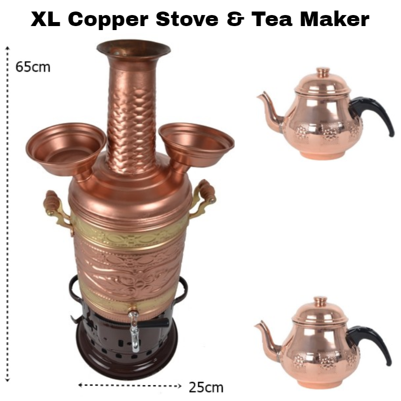 XL Outdoor Tea Coffee Maker Samovar - Charcoal Stove-Embroidered Handmade Copper-Authentic Camp And Picnic Samowar-FREE SHIPPING