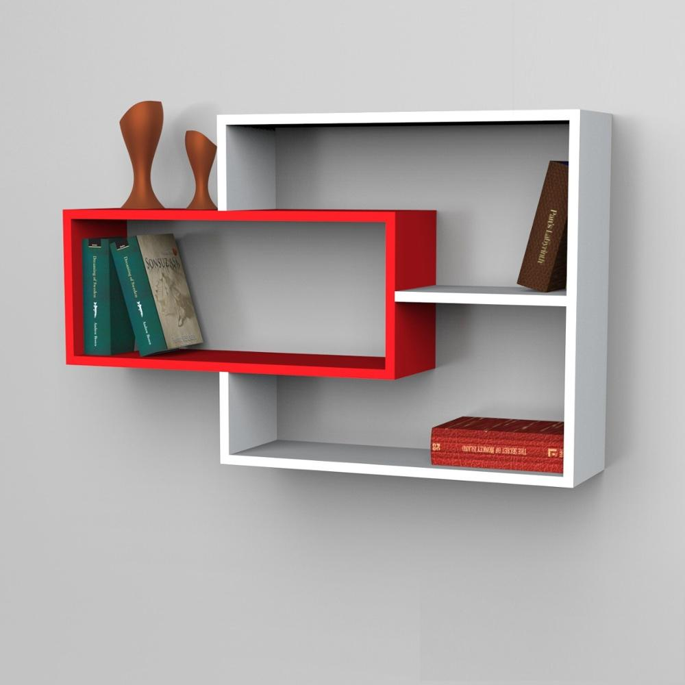 Shelf&Shelf MADE IN TURKEY Modern Shelf Decorative Red White Living Room Wood Wall Book Holder Organizer Bookshelf Rack Bookcase