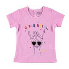 Ebebek HelloBaby/Базовая футболка для маленьких девочек; Повседневная хлопковая футболка с короткими рукавами и круглым вырезом; одежда для малышей; Топ; рубашка
