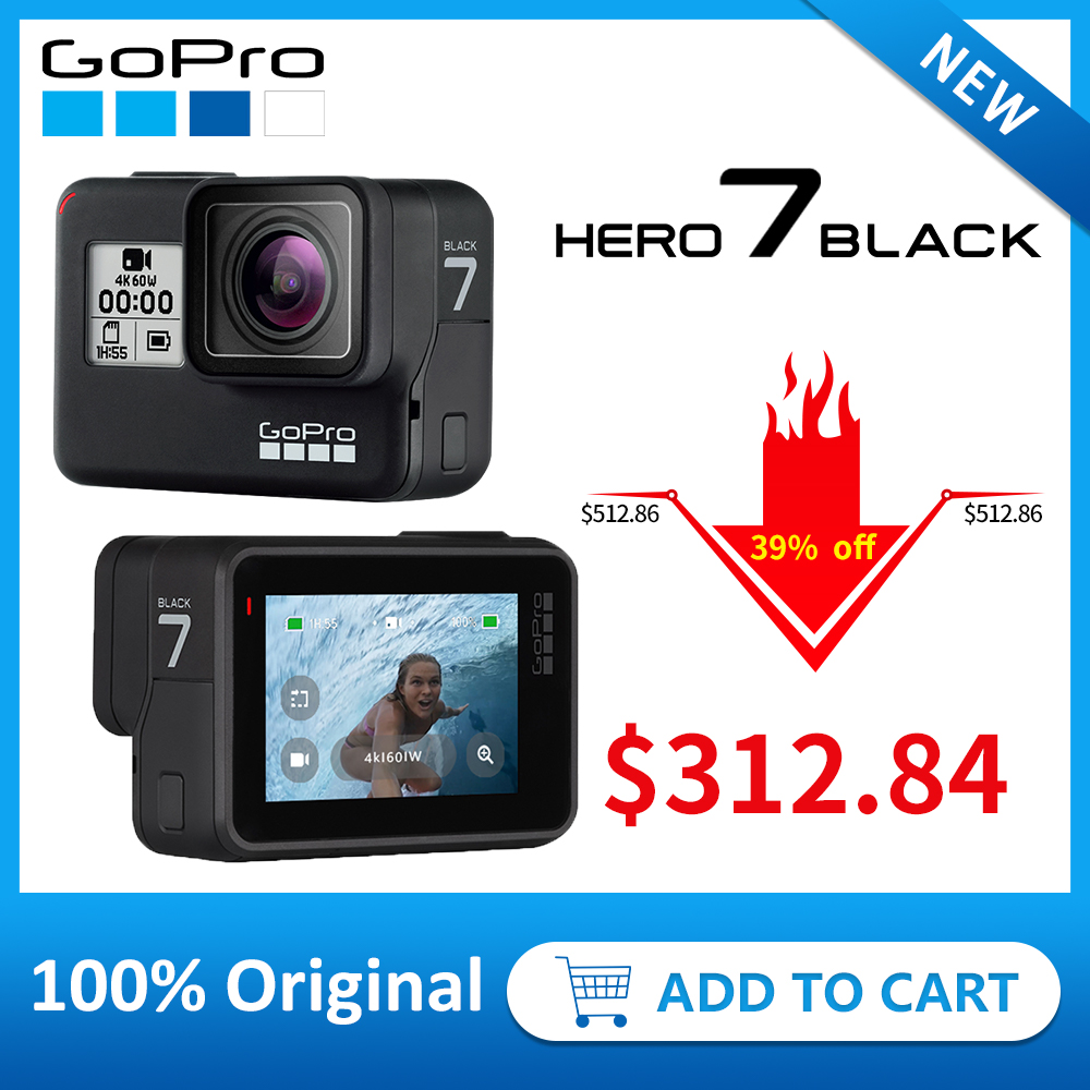 GoPro HERO7 negro impermeable cámara de deportes de acción con pantalla táctil ir Pro HERO 7 12MP fotos Streaming en directo de estabilización