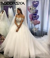 RODDRSYA Arabic Boho Ball Gown Organza Wedding Dress Beading Lux Crystal Off The Shoulder Gowns Bridal Vestidos De Novia