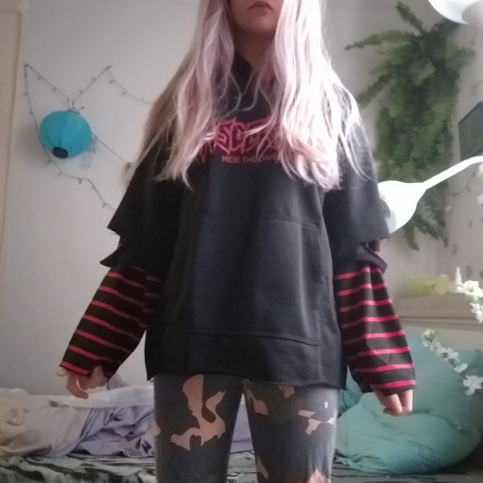 Lychee Harajuku Punk Hooded Sweatshirt Stripe Patchwork Hole Long Sleeve Hoodies Casual Loose  Streetwear Tracksuit photo review