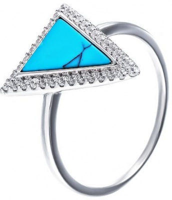 Jay VI Ring With Cubic Zirconia And Silver Turquoise