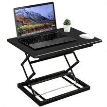 4 Height Adjustable Standing Desk Stand Up Desk Converter Laptop Stand Desk Notebook Computer Sitting Standing Workstation Black
