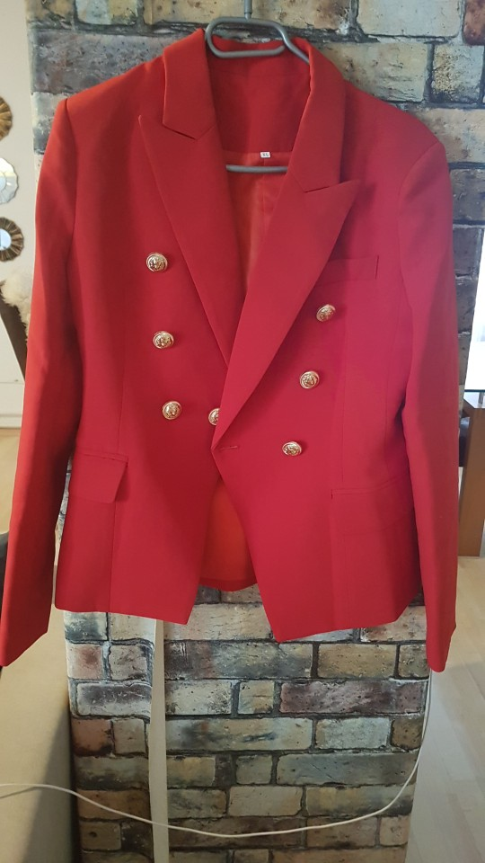 HarleyFashion European American Women Casual Blazer Double Breasted High Quality Plus Size Red Blazers reviews №1 115764