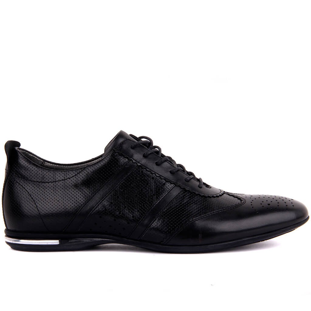 Sail-Lakers Black Leather Men 'S Casual Shoes