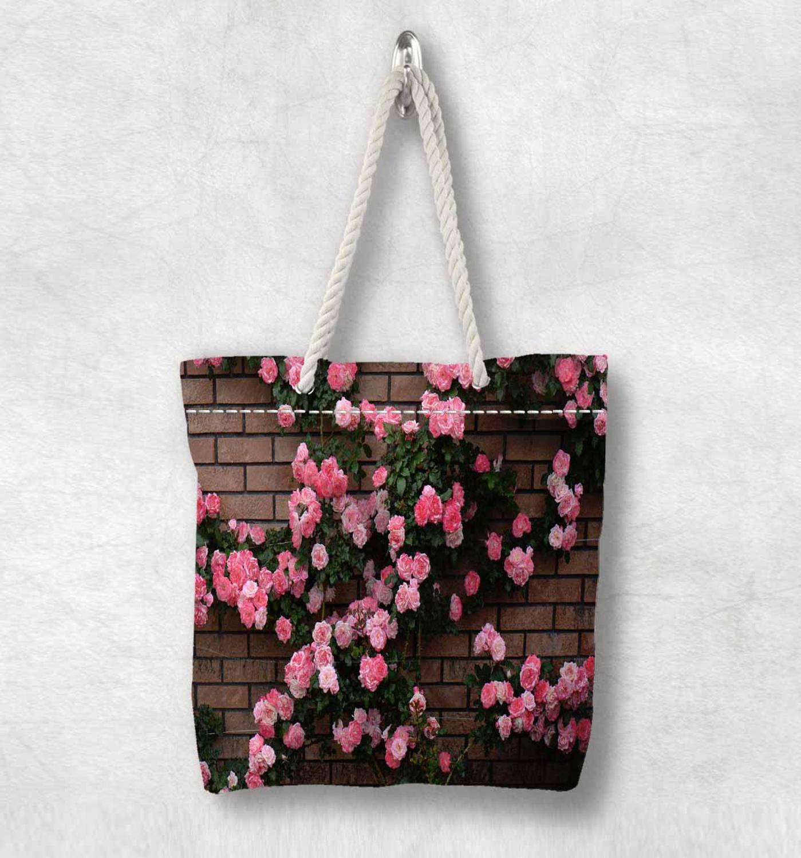 Başka bir kahverengi tuğla duvar pembe çiçekler ivy yeni moda beyaz halat kolu kanvas çanta pamuk kanvas fermuarlı Tote çanta omuzdan askili çanta