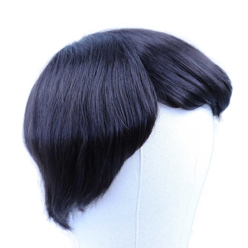 YY peruk doğal siyah erkek peruğu hint remy İnsan saçı değiştirme sistemi 4x4-8x10 ince Mono Net insan saçı peruk için erkekler