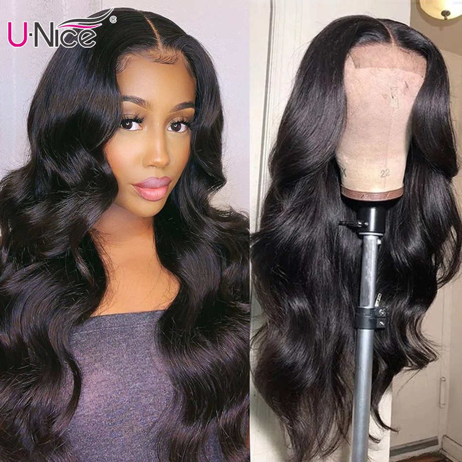 UNice Hair Long Body Wave Wigs 4x4 Inch Closure Wig Density 180% And 150% Natural Lace Wig With Pre-Plucked Natural Hairline