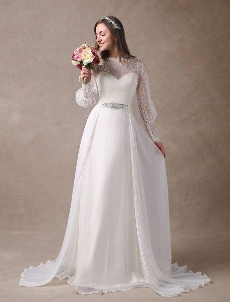 White Wedding Dresses Long Sleeve Lace Chiffon Beading Sash Illusion Beach Bridal Dress With Train