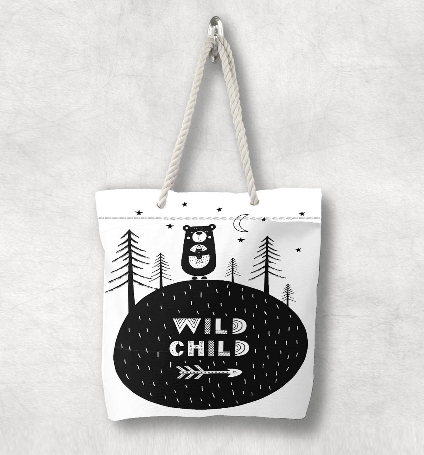 Else Wild Child Beas Jungle Tree Animals Scandinavian White Rope Handle Canvas Bag  Cartoon Print Zippered Tote Bag Shoulder Bag
