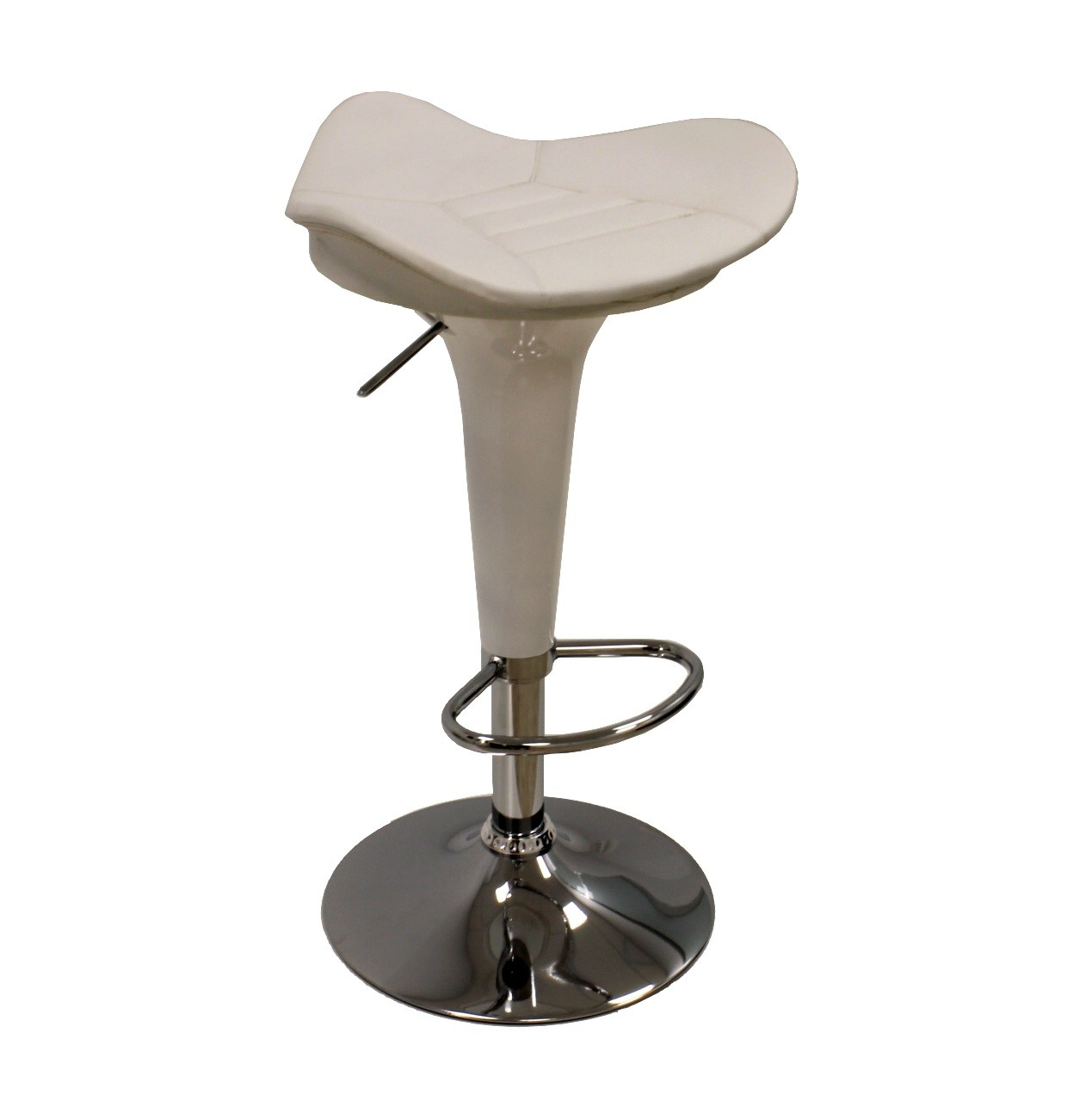 Stool CARSON, Chrome, Abs White, Similpiel White
