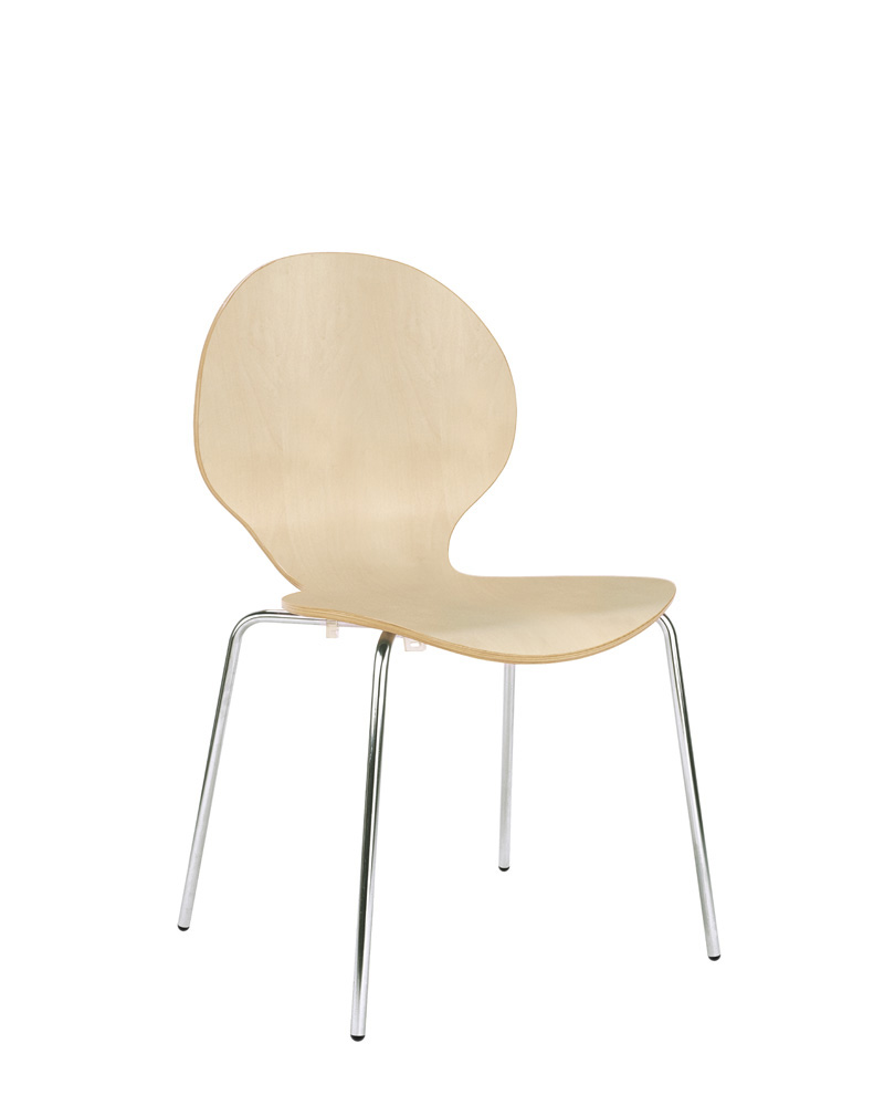 Visitor Chair With Chrome Bold Up Seat And Backstop Structure From Colored Wood Beech (BE SERVES 4 In 4 UNITS) TAPHOLE
