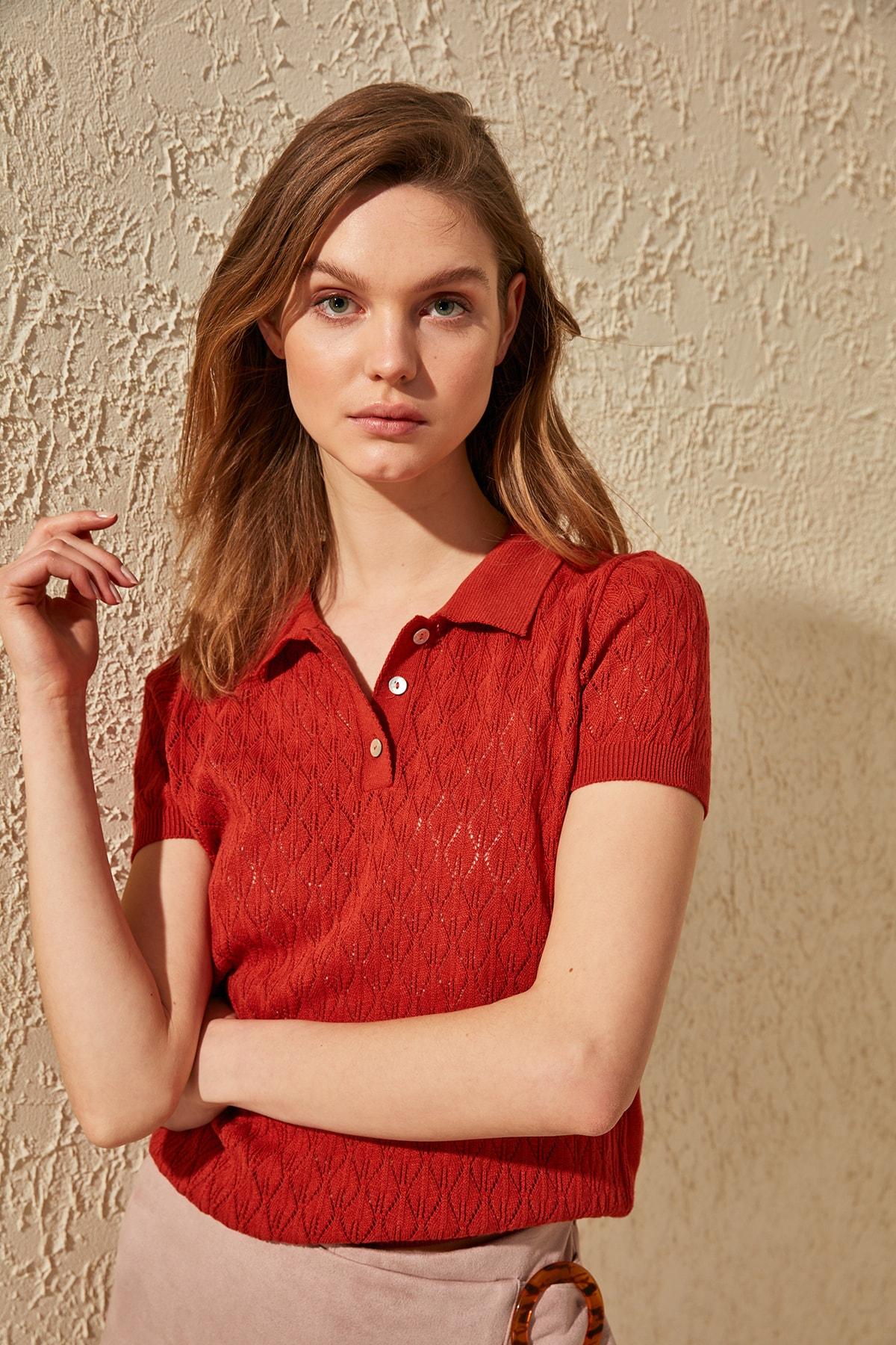 Trendyol Short Sleeve Cellular Knitwear Sweater TWOSS20KZ0049