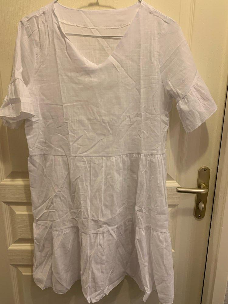 2019 Summer Beachwear Deep V Necek Short Sleeve White Ruffled A-line Mini Dress Women Dress Sexy Dress reviews №2 28210