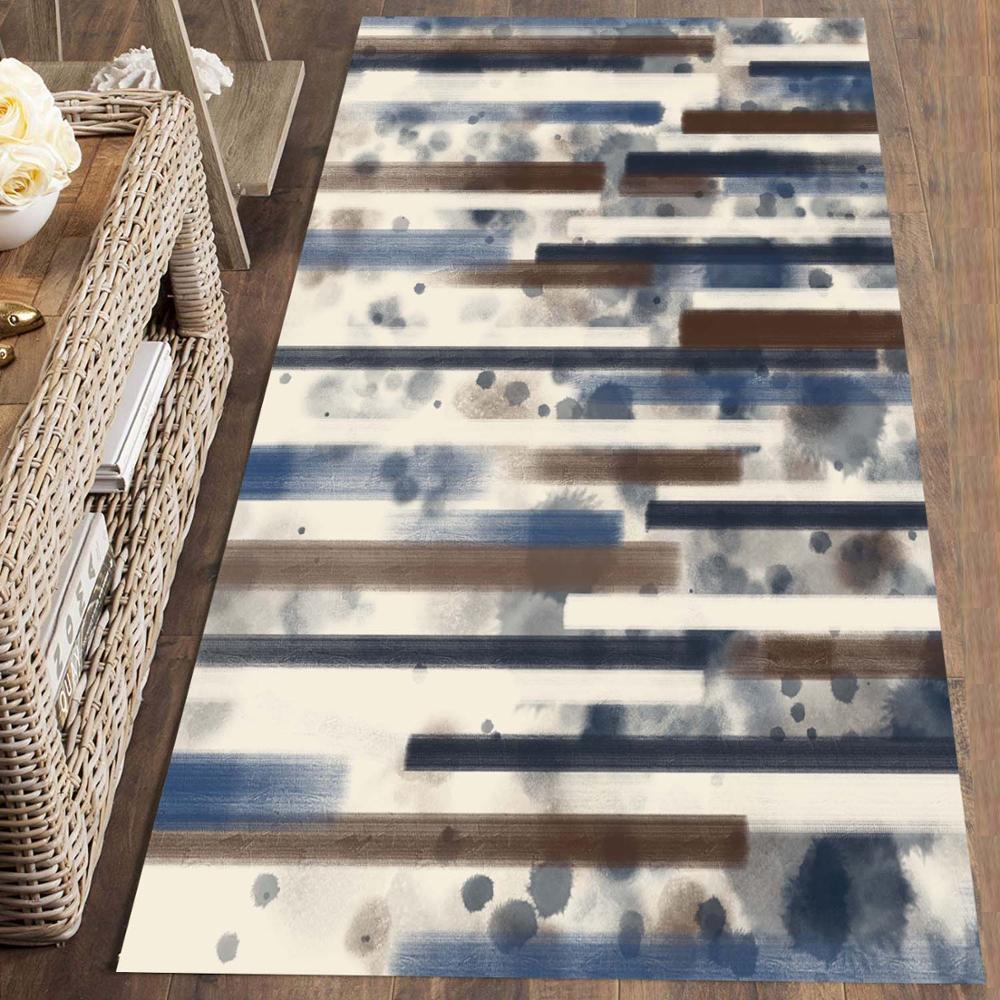 Else Blue Brown Watercolor Lines Stripes 3d Print Non Slip Microfiber Washable Long Runner Mat Floor Mat Rugs Hallway Carpets