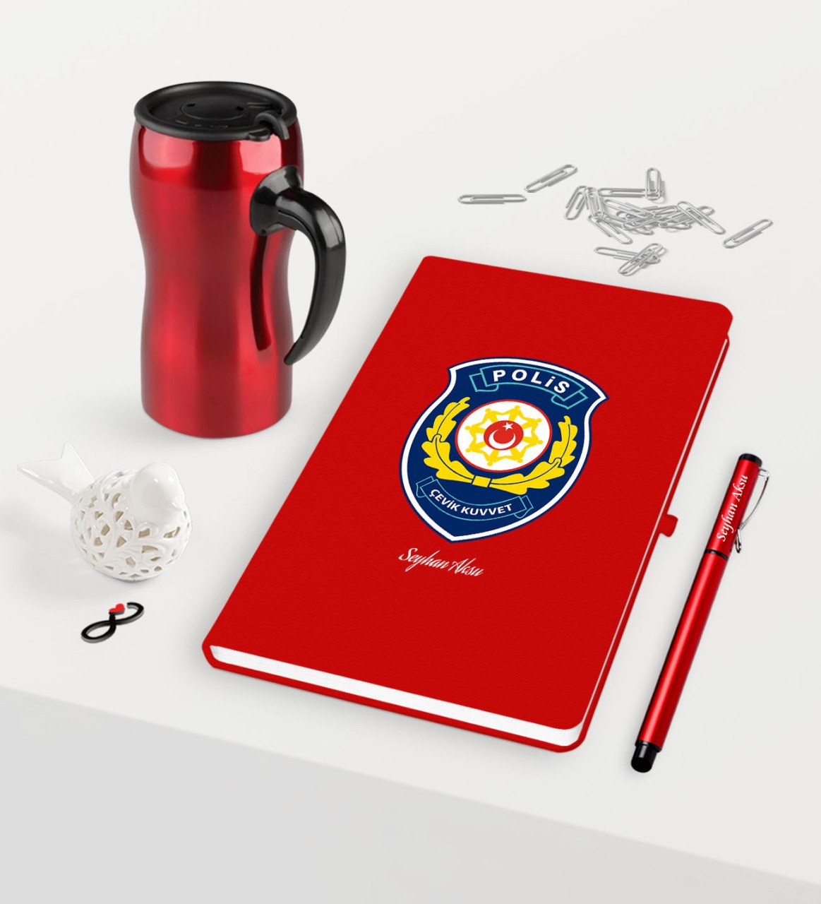 Personalized Polis Riot Themed Red Notebook Pen Thermos Mug Set