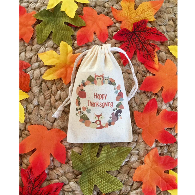 Thanksgiving Favor Bag Personalized Autumn Forest Animals Party Bags Wedding Treat Bag Thank You Gift Bag Muslin Drawstring Bag