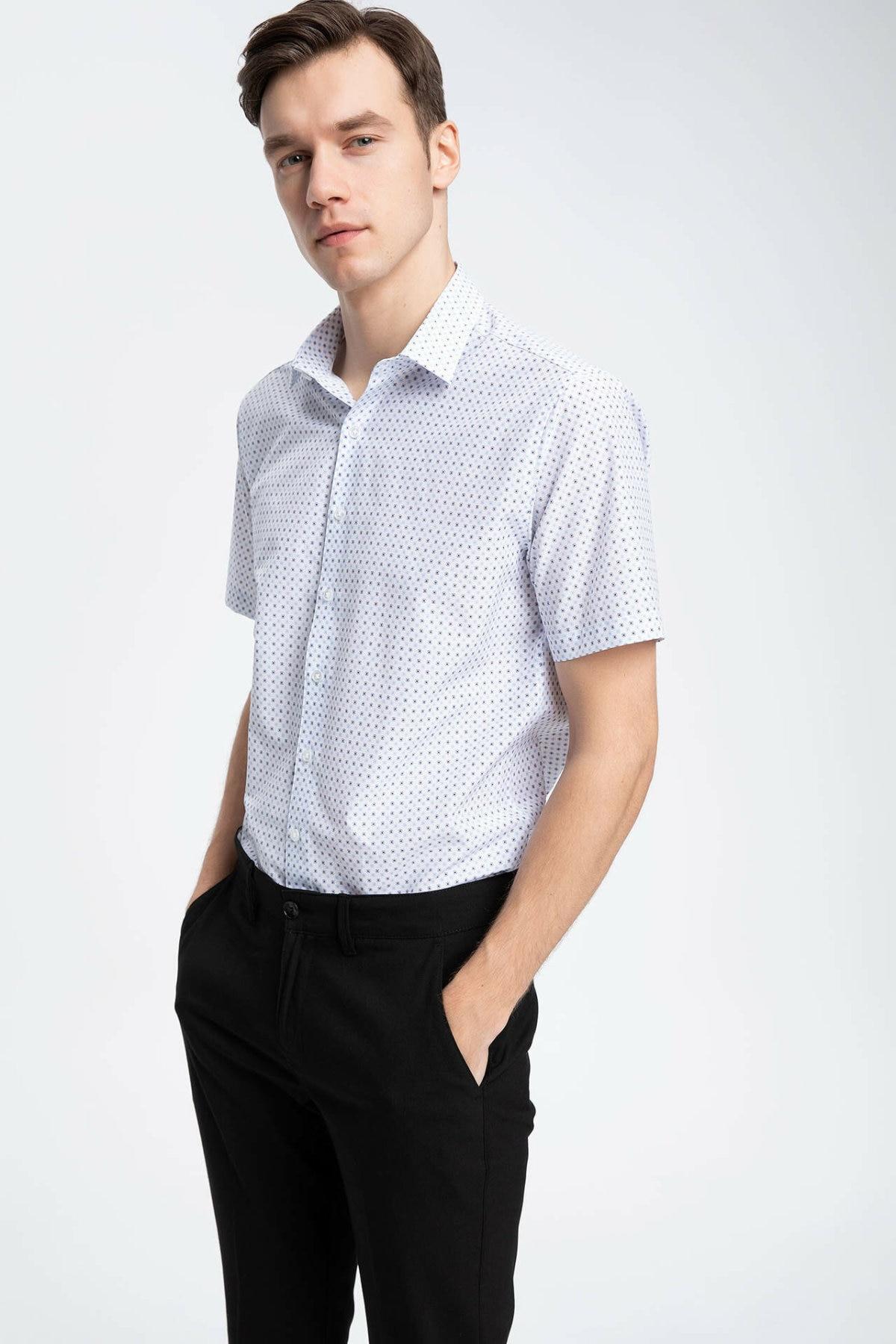DeFacto Men Formal Solid Shirts Short Sleeve Casual Shirts Men Fashion Lapel Collar Shirt - K2986AZ19SMWT34-K2986AZ19SM