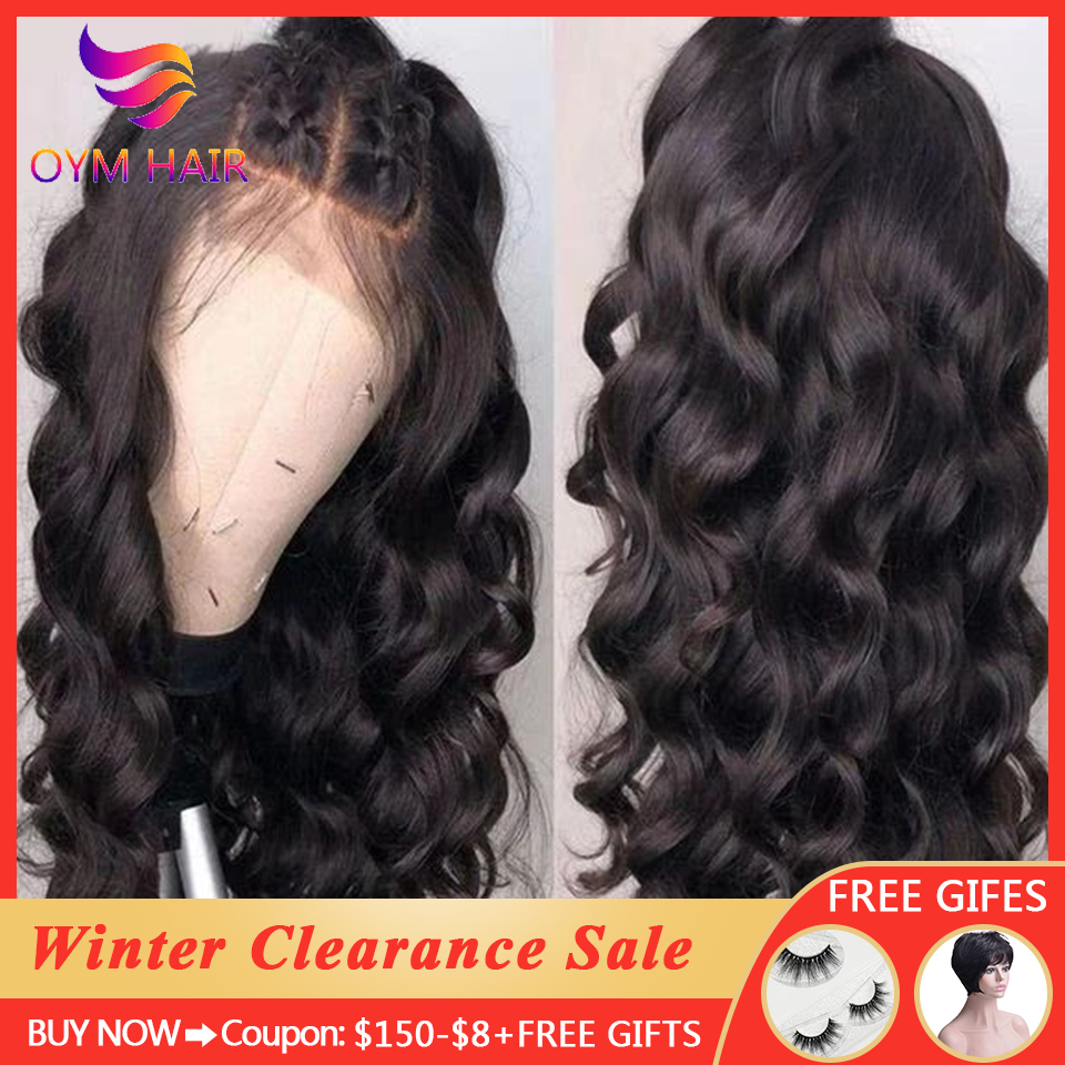 OYM Loose Wave Wig 13x4 Lace Front Human Hair Wigs For Women Pre Plucked Remy Free Part Hair Brazilian 360 Lace Frontal Wig 150%