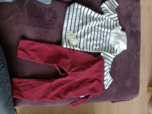Autumn Baby Boy Clothes 2pcs Long Sleeve Striped Hoodie Sweatshirt Strap Trousers Pants Casual Baby Clothes Sets photo review